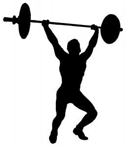 silhouette of weightlifter lifting barbell