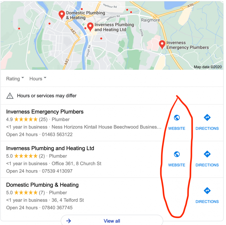 Google My Business Website section